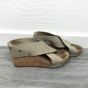 Lucky Brand Burlp Strap Cork Wedges 6.5